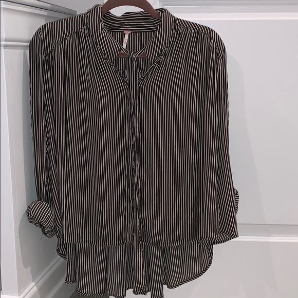 Free People Tops - Free People striped blouse with tie accent